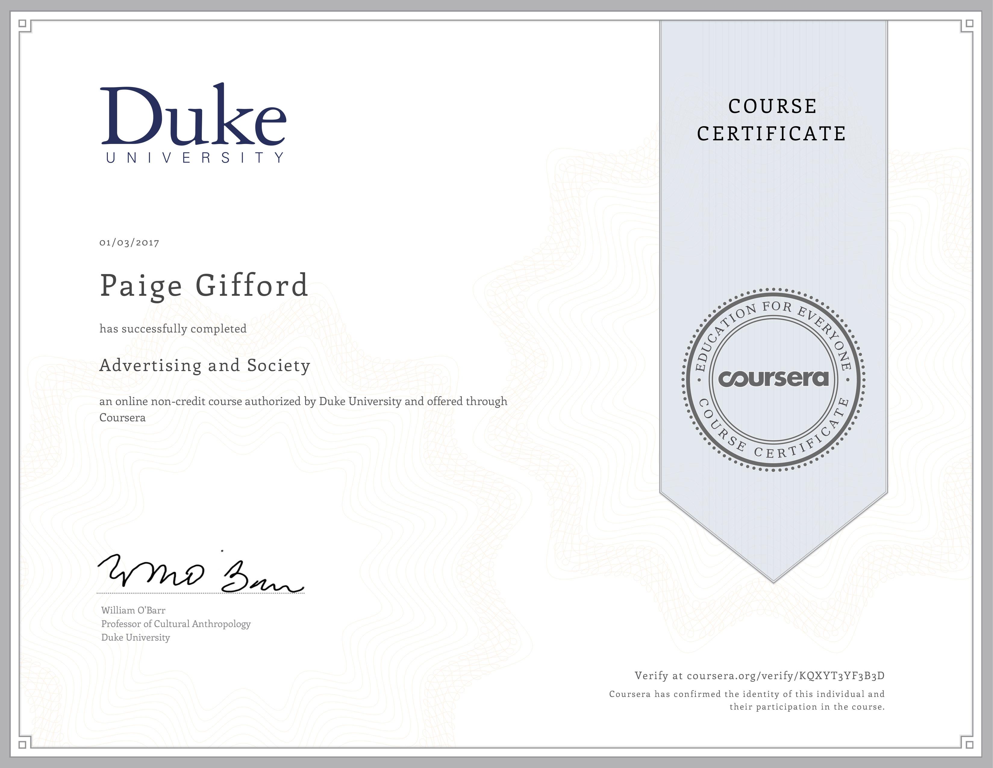 Advertising & Society (Duke University Coursera) – Paige Gifford